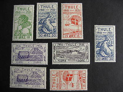 Scrap pile of 8 MH,MNH THULE locals (duplicates,mixed condition) check them out!
