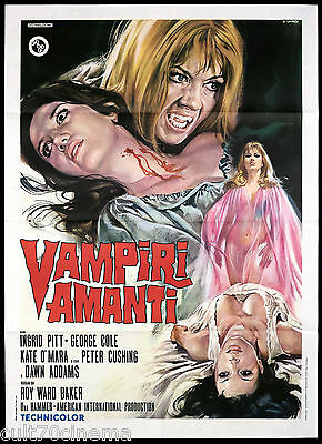 Vampiri Amanti Manifesto Cinema Film Cushing Horror 1971 Vampire Movie Poster 2F