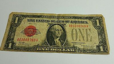 1928 Red Seal $1 United States Note  Funny Back