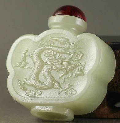 China old natural hetian jade hand-carved dragon Snuff Bottle NO.Z116