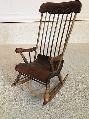 Vintage Hand Crafted Doll House Furniture French Wooden Rocker By A Nadeau