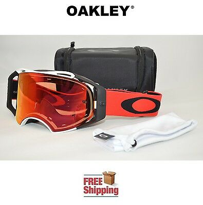 Oakley® Airbrake™ Prizm™ Goggles Mx Atv Motocross Motorcycle Red White W/ Torch