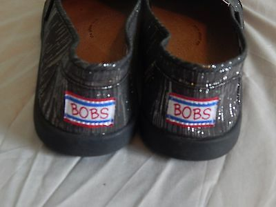 "BOBS SKETCHERS "" Helping The World "" Leather Insole Black Metallic  Tone SZ W 8"