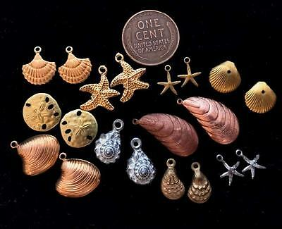 Vintage Mixed Metals Shell Nautical Charms Mix 20