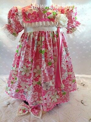 Hannahs Boutique 12-18 Month Baby Spanish Floral Frilly Dress & Headband Set