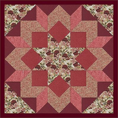 MORNING ROSES IN CORAL LONE STAR - Not Quilted, Machine Pieced, Made in the USA!