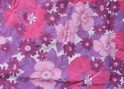 Retro Floral 1970s Vintage Fabric, Purple, Pink, Large Cushion or Quilt Cover