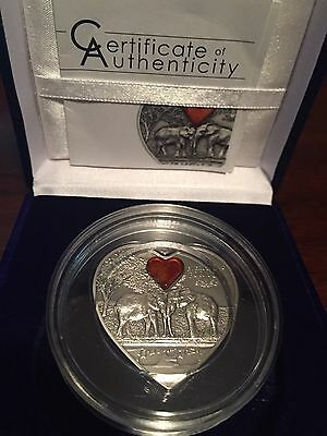"""2013 Palau $5 Lucky Elephants """"Everything For You"""" Silver Coin With Amber"""