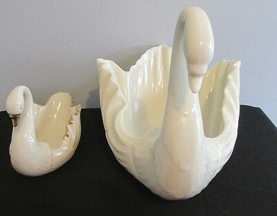 """2 Lot  Lenox China Ivory Swans  One Gold Trimmed 3 5/8"""" Tall And One 6 1/2"""" Tall"""