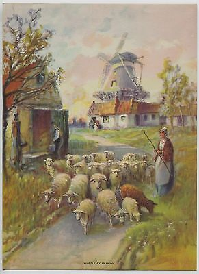 Vintage 1930's-40's Print Dutch  Windmill Sheep Farm Titled When Day Is Done