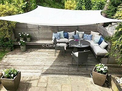 Clara Shade Sail Garden Sun Sail Shade Pure White Waterproof Sun 98% UV  Square
