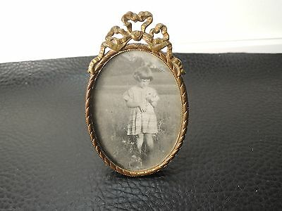 "ANTIQUE VICTORIAN Ornate Standup BRASS/BRONZE VIENNA Picture Frame 3.14""X 1.96"""