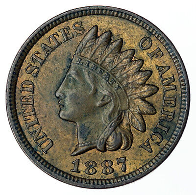 1887 Indian Head Cent USA ~ High Grade + Some Lustre