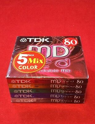 TDK Recordable MD Mini Disks 80 5 Pack - Mix Colours - New & Sealed