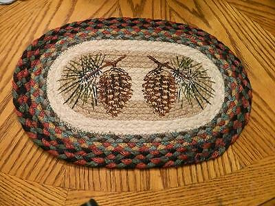 "Pinecone Times Two Oval Braided Trivet Candle mat 15"" X  10"""