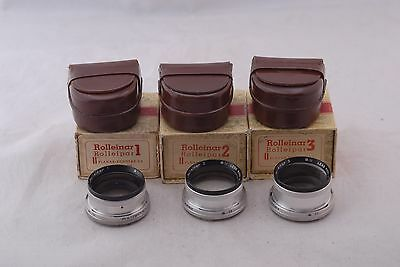 Rolleinar #1 #2 #3 Set w/cases & Boxes for Rolleiflex 3.5F Planar/Xenotar Bay II