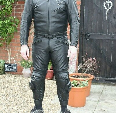 Dainese Mens Two Piece Leather Suit. Full Body Armor, Jacket 48, Trousers 36-38