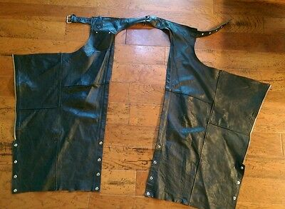 EUC SHAF Black Leather WOMEN Motorcycle Biker Chaps Adjustable Zip BUCKLE LARGE