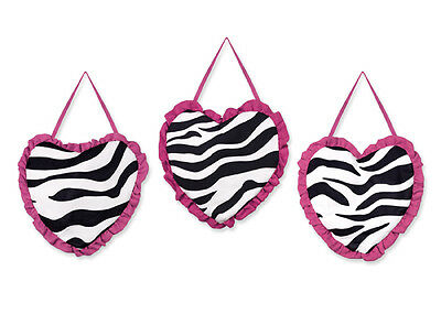 Wall Art Decor Hangings for Sweet Jojo Pink and Zebra Print Baby Kid Bedding Set