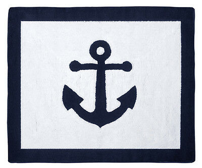 Anchor Floor Rug for Boys Kid Baby Sweet Jojo Design Navy White Nautical Bedding