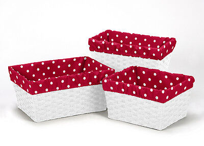 Red White Ladybug Organizer Storage Kid Basket Liners Fit Small Medium Large Bin