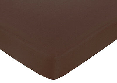 Sweet Jojo Designs Stars Moons Crib or Toddler Fitted Sheet- Solid Brown Cotton