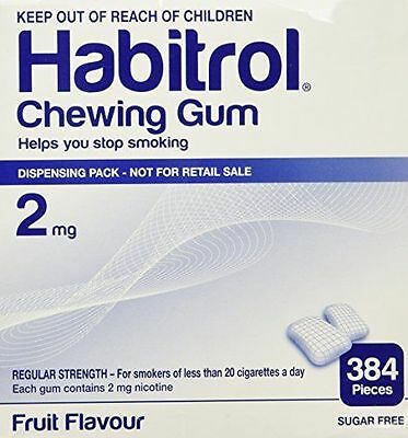 Habitrol 2mg FRUIT Flavor 384 Pieces Bulk Box Quit Smoking Gum *FRESH*