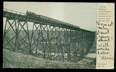 1901 President McKinley's Special Crossing Des Moines River Viaduct Postcard