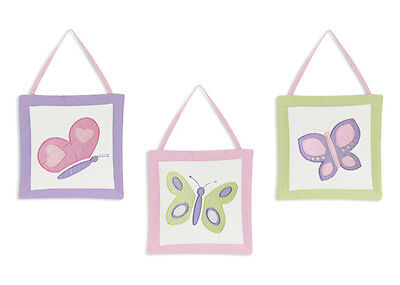 Wall Art Decor Hanging for Sweet Jojo Pink Purple Butterfly Baby Kid Bedding Set