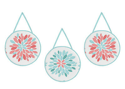 Wall Art Decor Hanging For Jojo Designs Girls Turquoise Coral Floral Bedding Set