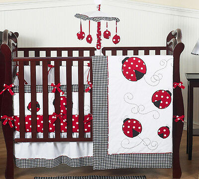 Sweet Jojo Designs Lady Bug Red Polka Dot Baby Girl Crib Bedding Set Collection