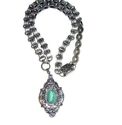 GREEN SATIN GLASS Necklace Victorian LOCKET Book Chain SILVER Plated Bookchain