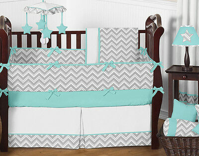 Sweet Jojo Zigzag Gray & Blue Gender Neutral Baby Crib Bedding Set for Girl Boy