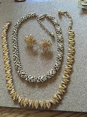 Two Vintage Trifari Necklaces And Pair Earrings