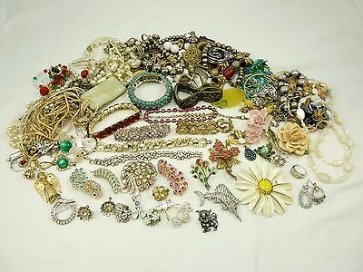Mixed Lot of Vintage Jewelry For Craft & Repair #1 Rhinestones Beads etc