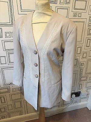 VINTAGE 80's NEW WAVE BEIGE EMBROIDERED BLAZER JACKET LARGE UK 16