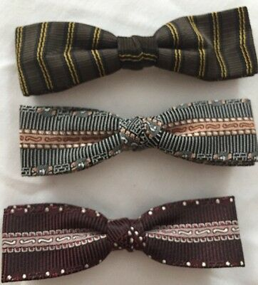 Vintage lot of 3  skinny clip-on Bow tie's Royal-Rust