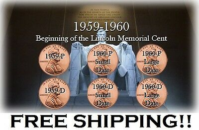 1959-P 1959D 1960-P 1960D Large Small Date Lincoln Memorial Cent Set Beginning