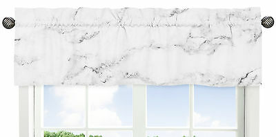Window Treatment Valance For Sweet Jojo Black And White Marble Teen Bedding Set
