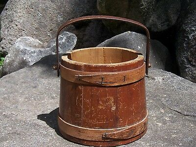 Antique Wood Bucket Pail Firkin Style Farm Primitive