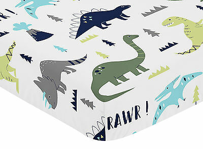 Sweet Jojo Designs Blue and Green Mod Dinosaur Baby Crib or Toddler Fitted Sheet