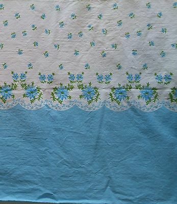 "Vintage Cotton Pillowcase Bedding Fabric BLUE & WHITE FLORAL 35""Wide x 5 Yards"