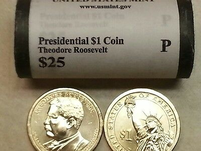 Head/Tail~ 2013 P MINT THEODORE ROOSEVELT PRESIDENTIAL $25 DOLLAR ROLL~FREE SHIP