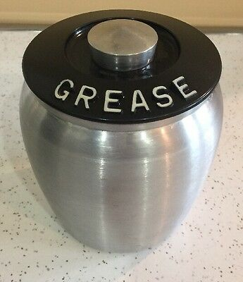 Vintage Kromex Spun Aluminum Grease Canister With Strainer and Bakelite Lid GUC