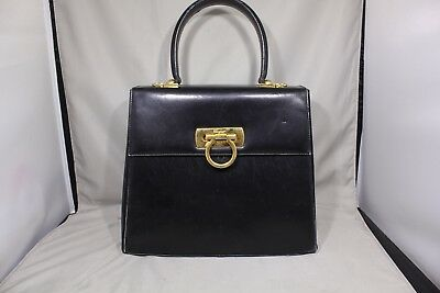 600a1c45872 Auth Salvatore Ferragamo 2 Way Bag Black Leather Purse Flap Gancio Gancini  Clasp