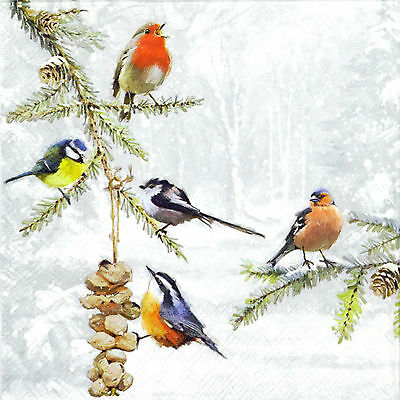 4x Paper Napkins -All Birds Together- for Party, Decoupage