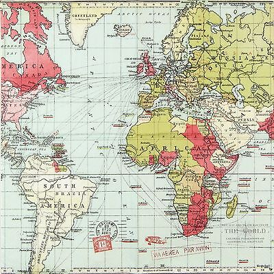 4x Paper Napkins -World Map for travellers- for Party, Decoupage