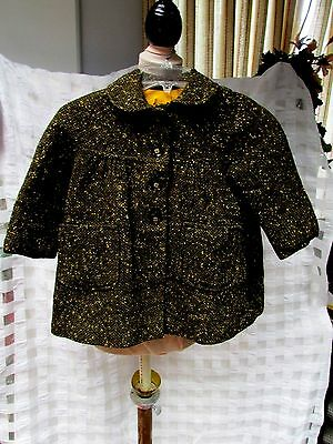 VTG 60s Lined Nubby Textured Tweed Wool Childrens Coat 6 Black Tan Gold Amber VG