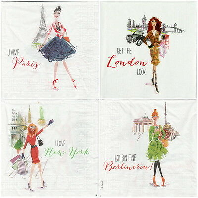 4x Paper Napkins -City Girls- for Party, Decoupage Decopatch -mix-