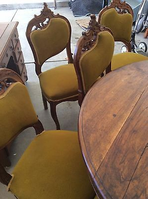ANTIQUE ROSEWOOD DINING SET ROUND TABLE & CHAIRS ca. 1860
